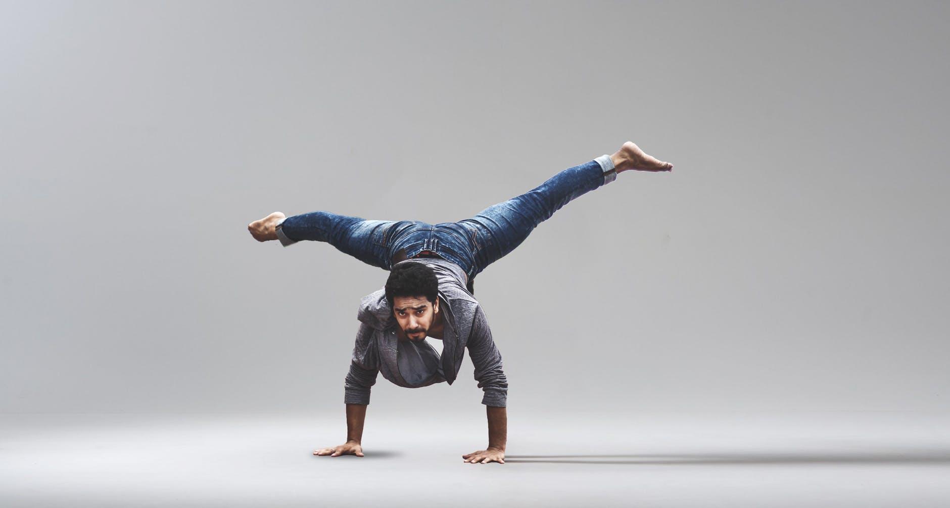 man performing handstand